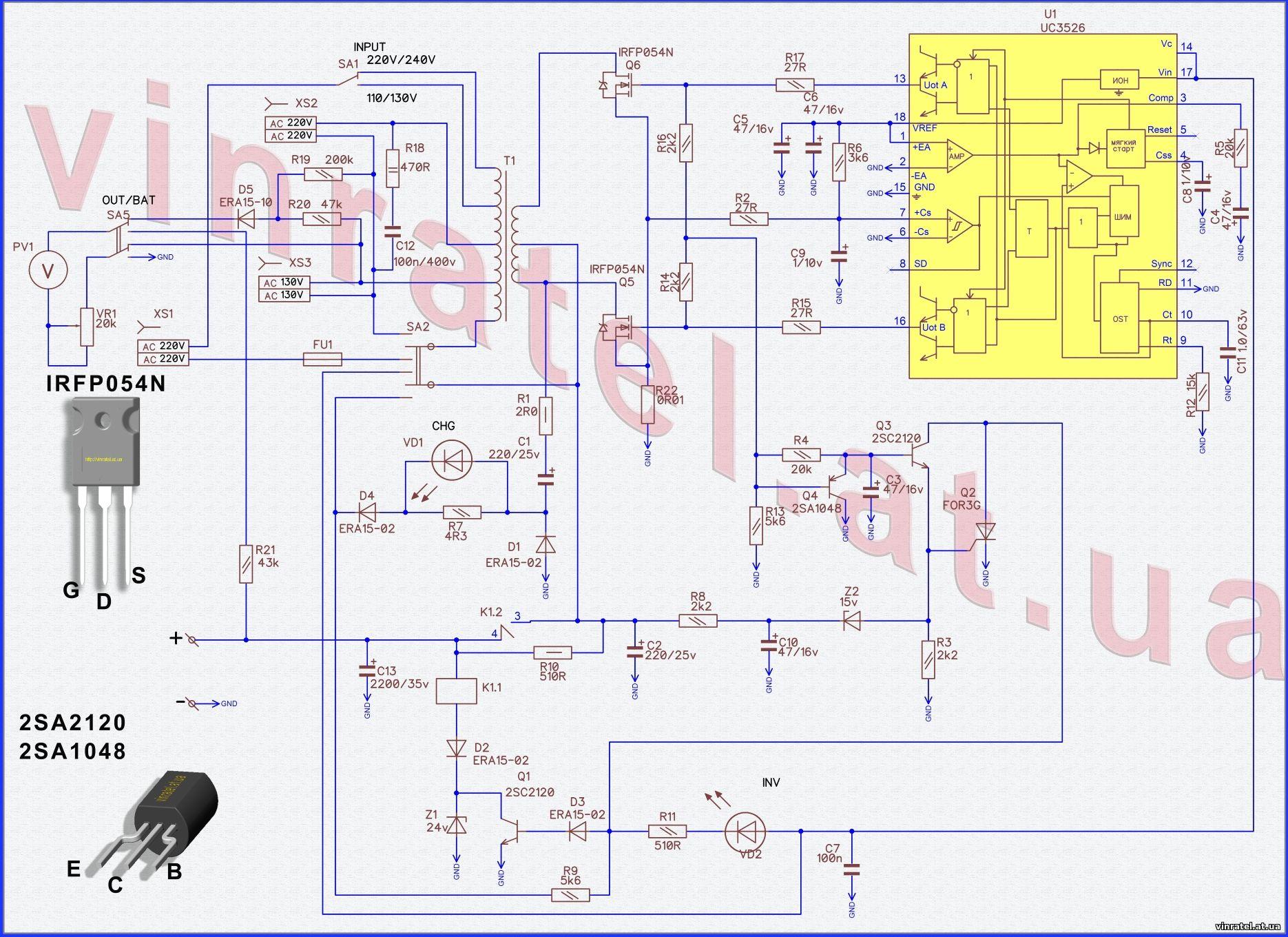 Схема преобразователя напряжения из 12в в 220в